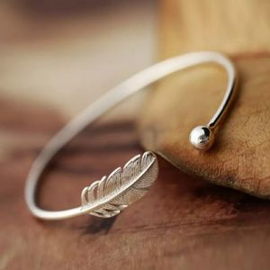 NEW S925 Adjustable Feather & Ball Bangle Cuff …